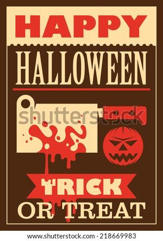Retro halloween poster. Vector illustration. - stock vector