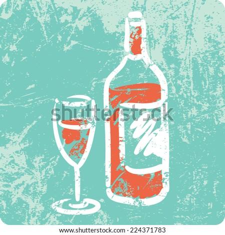 Retro Hand Drawn Textured Icon - Bottle of Wine - stock vector