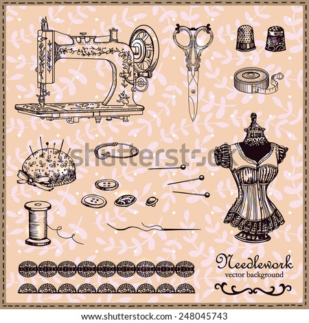 Retro handstitched vintage set. Set of vintage images for your design. Decorative retro background. Illustration for greeting cards, invitations, and other printing and web. projects. - stock vector