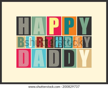 Retro Happy birthday card  Vector illustration - stock vector
