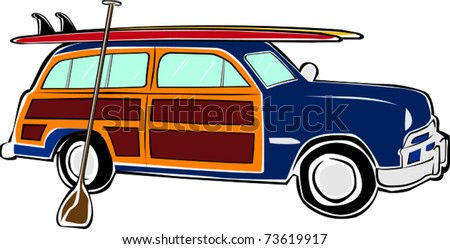 Retro Happy Hippie Vintage Tropical Standup Paddle Board SUP Woody Car Vector Illustration - stock vector