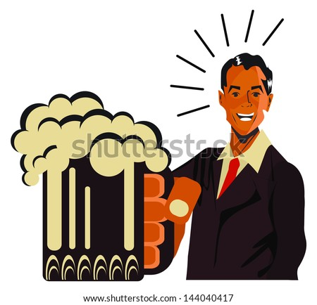 REtro happy man with beet - vintage art illustration Happy smiling man - stock vector