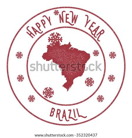 Retro Happy New Year Brazil Stamp. Vector rubber stamp with map of Brazil, Happy New Year text and falling snow - stock vector