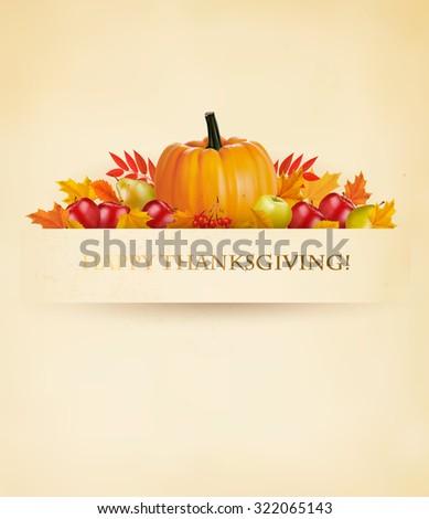 Retro Happy Thanksgiving Background. Vector. - stock vector