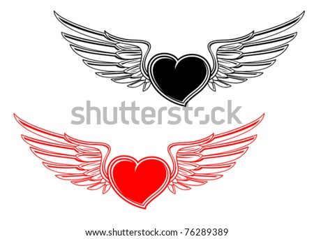 Retro heart with wings for tattoo design. Jpeg version also available in gallery - stock vector