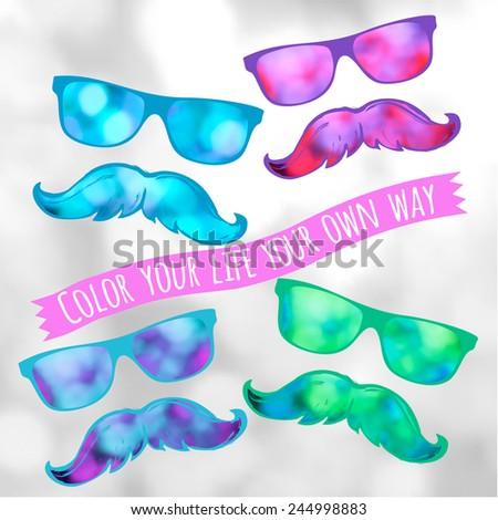 Retro hipster glasses lifestyle-model for design of gift packs, patterns fabric, wallpaper, web sites, etc. - stock vector