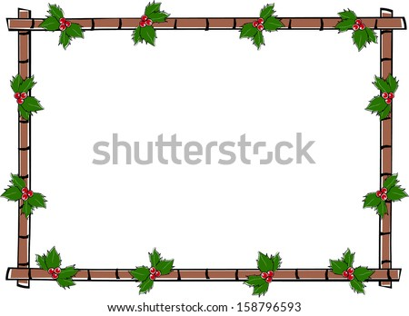 Retro Holiday Horizontal Bamboo Frame with Holly Berries & Leaves Vector Illustration - stock vector