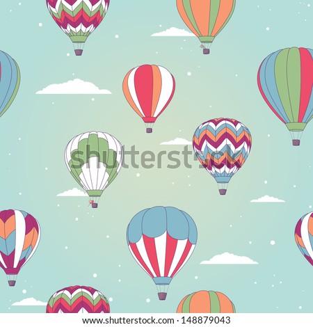 Retro hot air balloon - stock vector