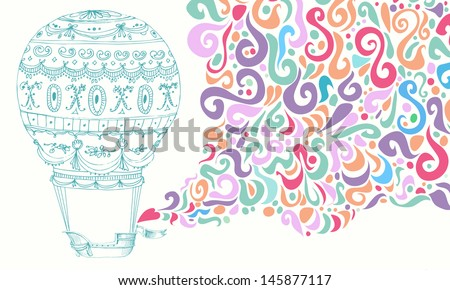 Retro hot air balloon colorful sky background.  Vector illustration. - stock vector