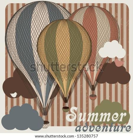 Retro hot air balloon T-shirt design with air balloon Summer background - stock vector