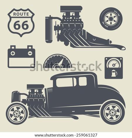 Retro Hot Rod set, vector illustration - stock vector