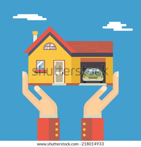 Retro Human Hands with House Real Estate Modern Flat Design Concept Template Vector Illustration - stock vector