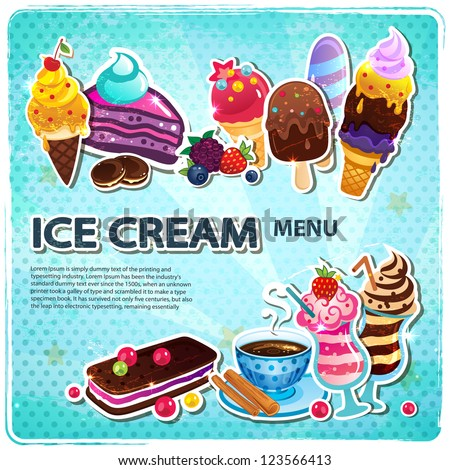 Retro Ice cream menu - stock vector