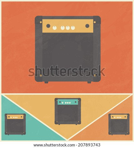 Retro Icon Design - Guitar Amplifier - stock vector