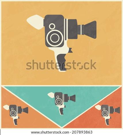 Retro Icon Design - Old Video Camera - stock vector