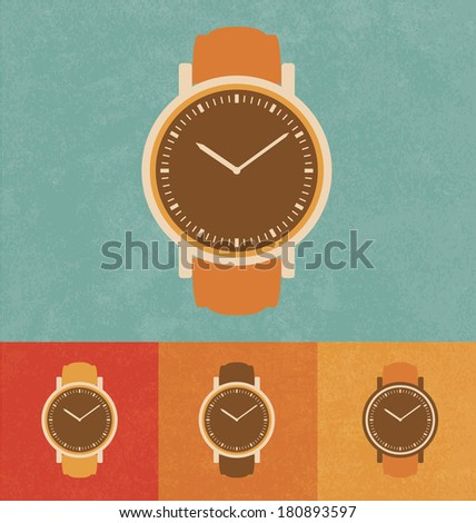 Retro Icons - Classic Watch - stock vector