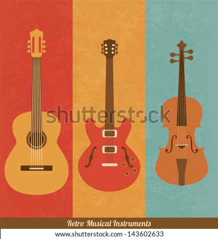 Retro Icons - Guitar Set - stock vector