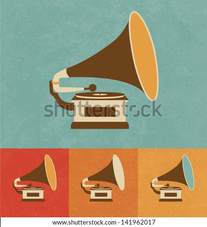 Retro Icons - Old Record Player - stock vector