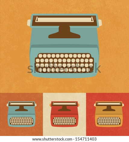 Retro Icons - Typewriter - stock vector
