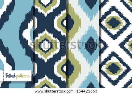 Retro ikat tribal seamless patterns, fashion design, illustration for web design or home decor - stock vector