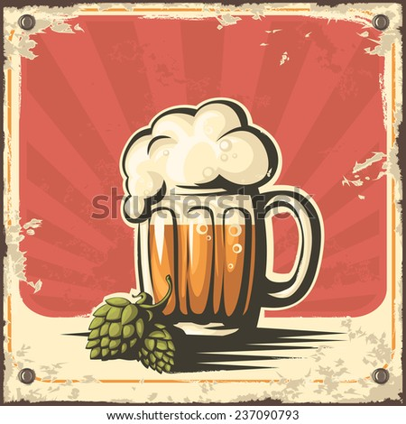 Retro illustration of beer free label, beer poster, vector illustration on red background - stock vector