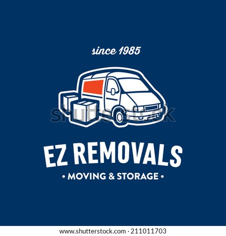Retro illustration of truck and boxes, good for creating badge label logo for moving storage company of express delivery service - stock vector