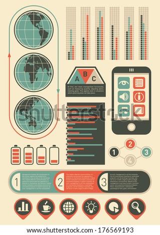 Retro info graphic elements. Vector illustration. - stock vector