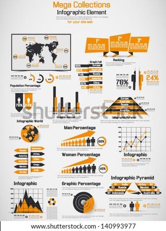 RETRO INFOGRAPHIC DEMOGRAPHIC WORLD MAP ELEMENTS - stock vector