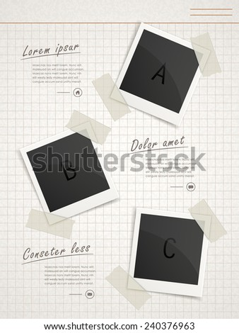 retro infographic template design with photo paper elements  - stock vector