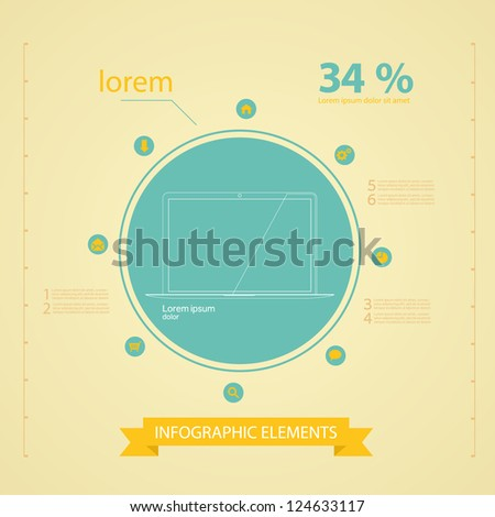 Retro infographics set, graphic or website layout vector and icons IT tehnology - stock vector