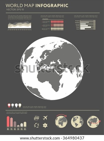 Retro infographics set. World Map and Information Graphics. Flat planet Earth icon. Flat design vector illustration for web banner, web and mobile, infographics. Vector Earth icon graphic. - stock vector