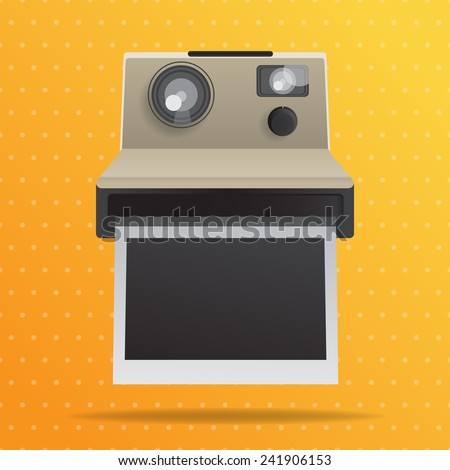 Retro instant camera with blank photo frame. Vector design illustration. - stock vector