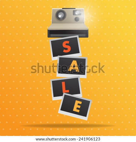Retro instant camera with  photo frame. Vector design illustration. - stock vector