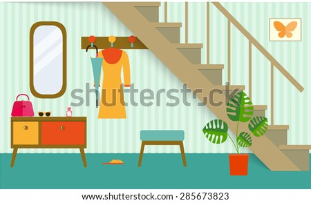 retro interior hallway under stair,vector illustration - stock vector