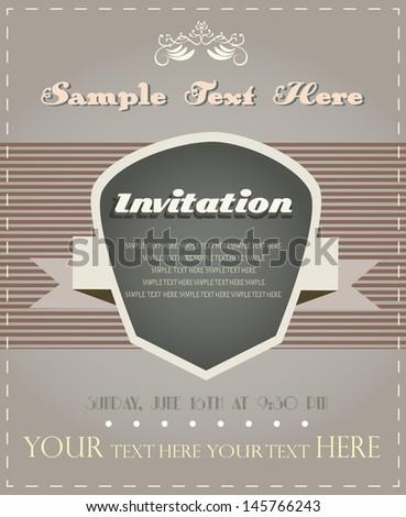 retro invitation card, vintage design, announcement - stock vector