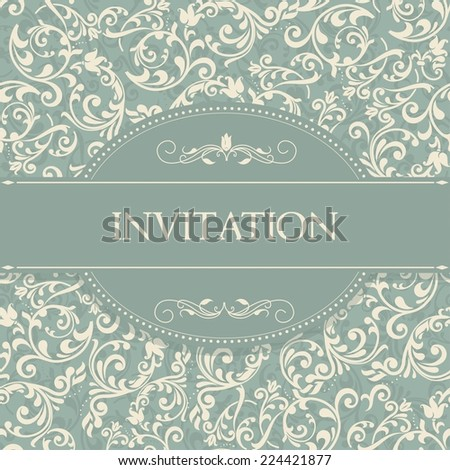 retro Invitation card with damask background and elegant floral elements  - stock vector