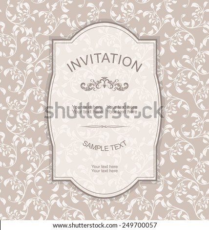 retro Invitation card with floral pattern - stock vector
