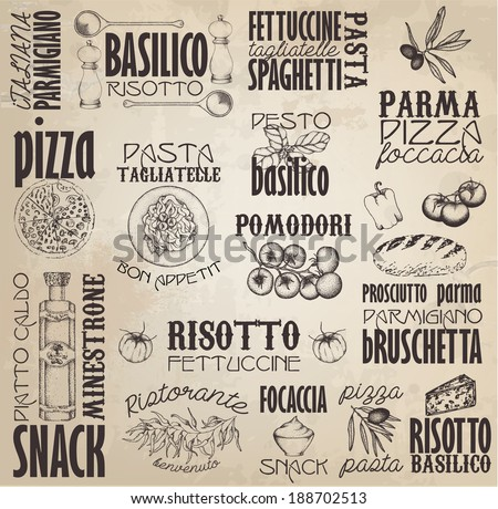 Retro Italy  labels with hand drawn elements. - stock vector