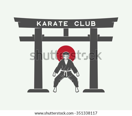 Retro Japanese torii gate with japan flag and karate fighter in vintage style. Vector Illustration - stock vector