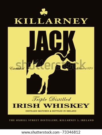 Retro Killarney Irish Whiskey Square Label Vector Illustration - stock vector