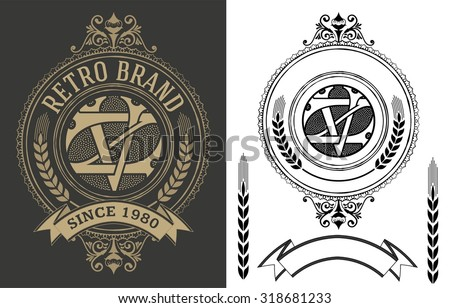 Retro label with monogram and elements - stock vector