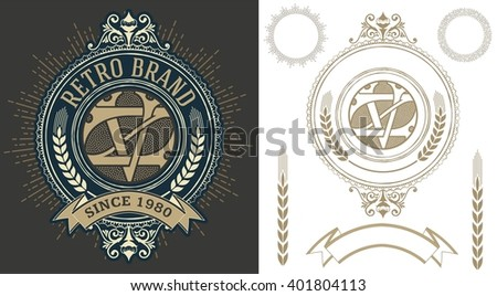 Retro label with monogram and elements layered - stock vector