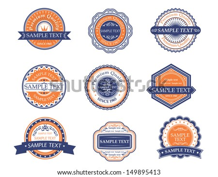Retro labels and frames for quality and guarantee elements. Jpeg version also available in gallery - stock vector