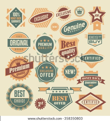 Retro labels and stickers collection. Vintage set of signs, symbols, icons and badges. Premium quality, best offer, genuine product, certified, money back guarantee, best buy, original, exclusive. - stock vector