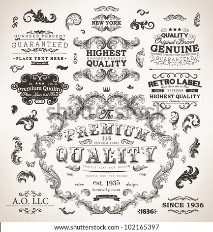 Retro labels and vintage badges: Original Brand, Guaranteed and Satisfaction, Highest Quality, Genuine, Premium | Set of old page elements for design - stock vector