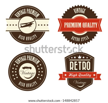 retro labels over white background vector illustration  - stock vector