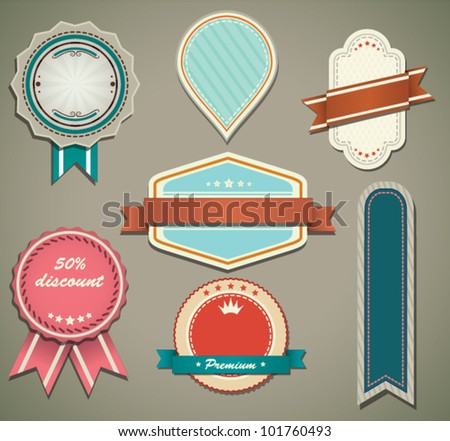 Retro labels set - stock vector