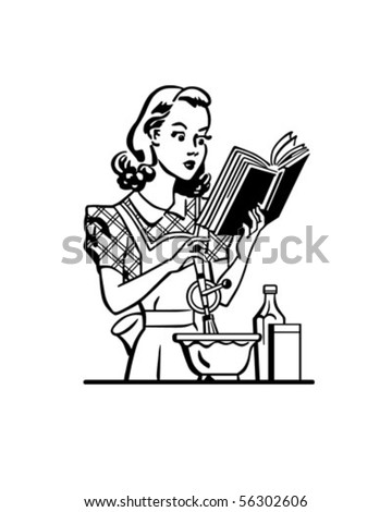 Retro Lady Cook - Clip Art - stock vector