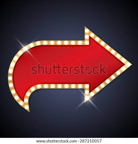 Retro light bulb arrow with space for text - stock vector