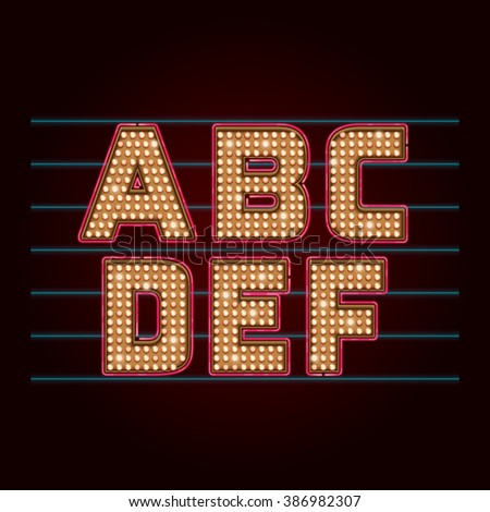 Retro Light Bulb Font. Vector realistic lamps alphabet from A to F - stock vector